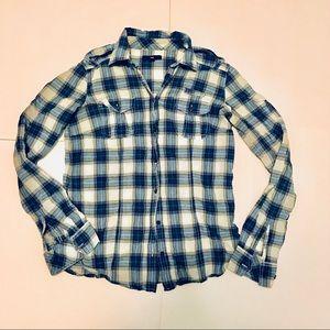 GAP Blue and White Plaid Button Down Flannel